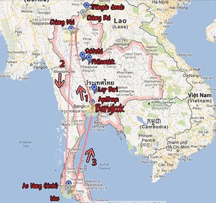mapa viaje tailandia
